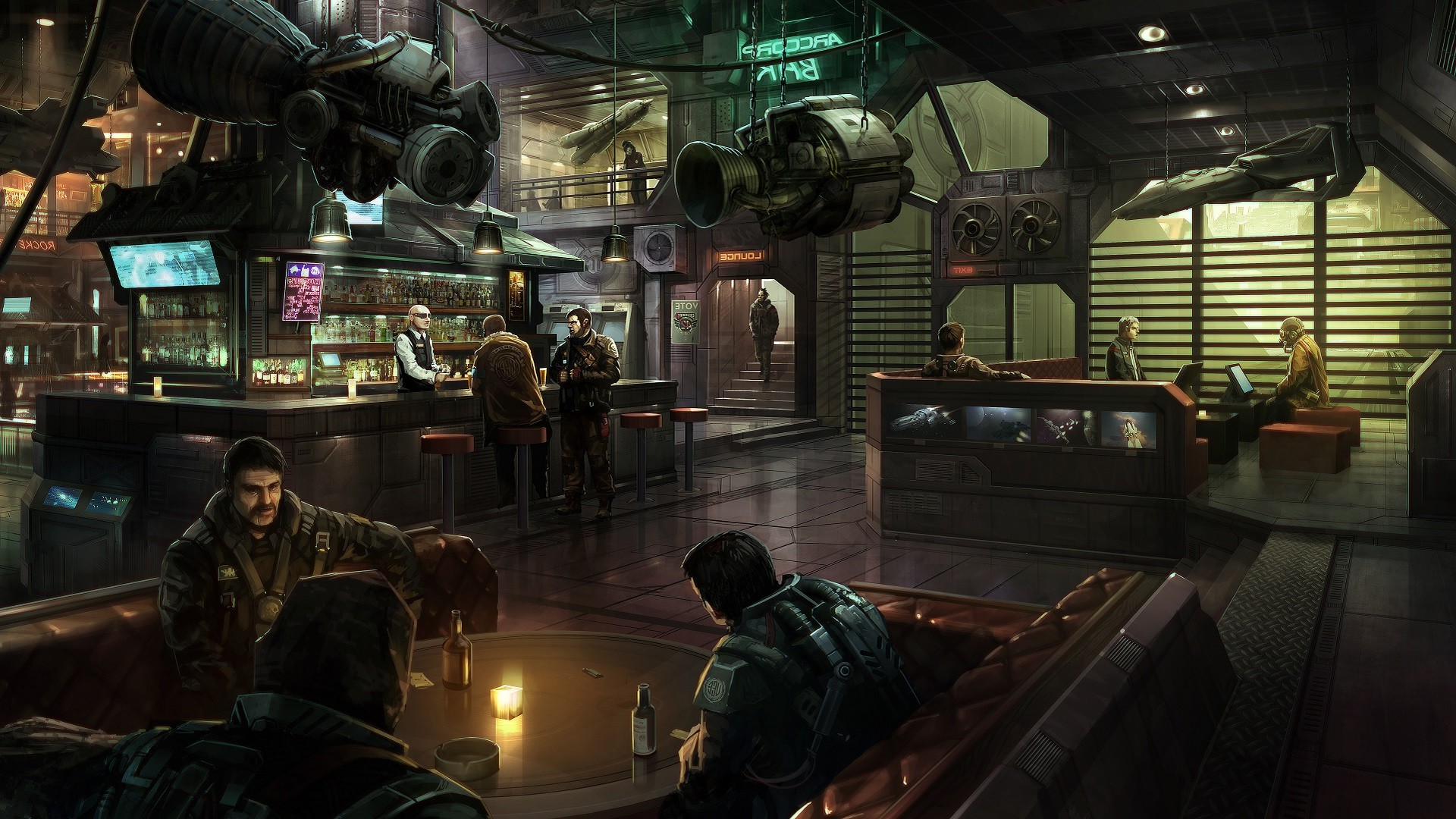 Space Spaceship Star Citizen Bar Digital Art ArcCorp