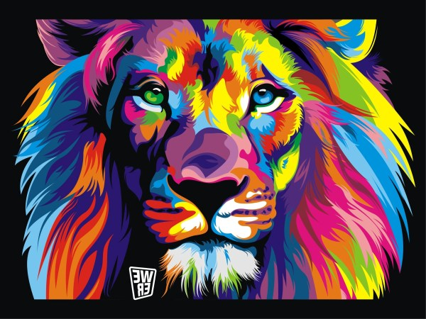 Lion Colorful Animal Paintings