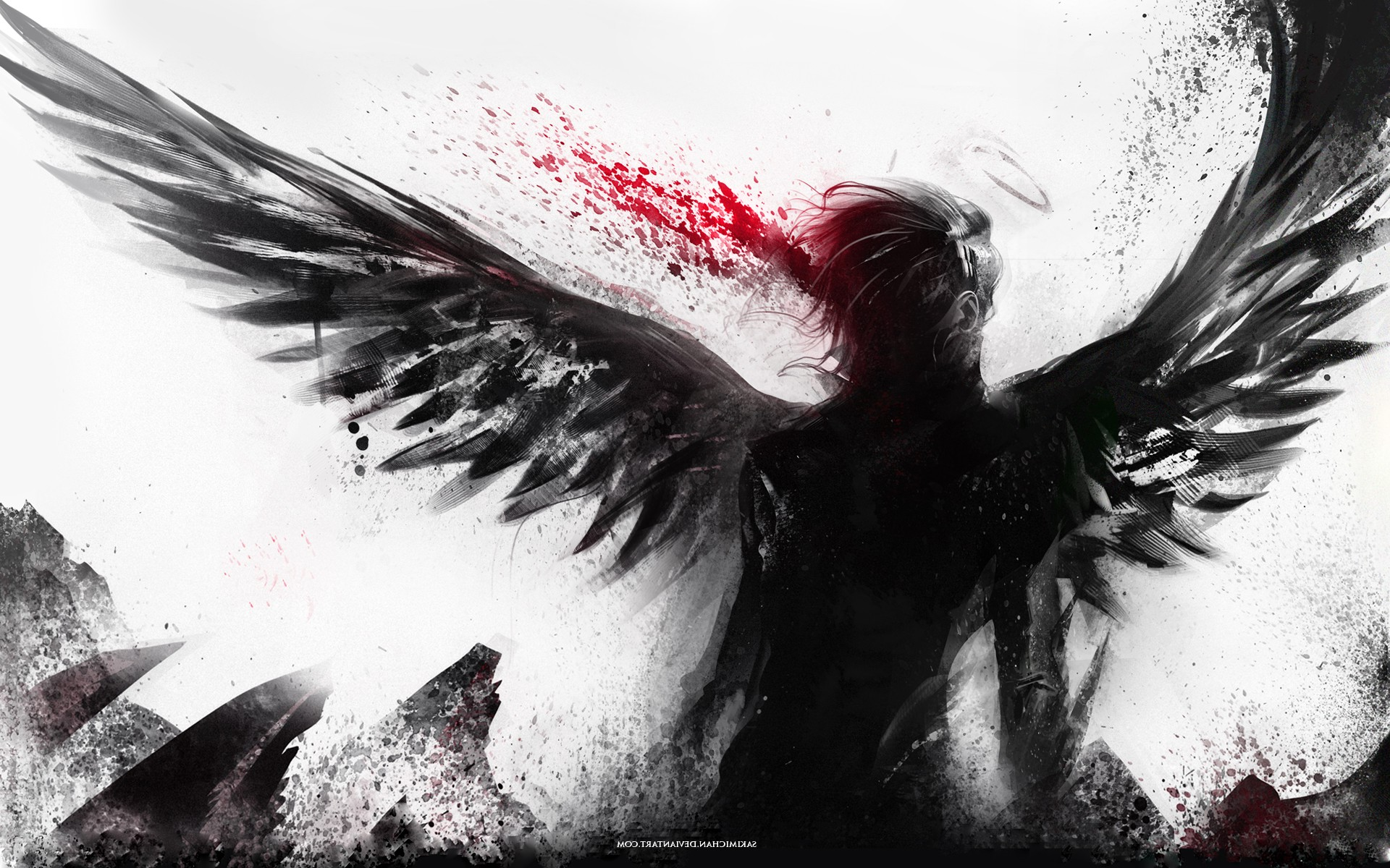 Abstract Fantasy Art Wings Angel Blood Spatter