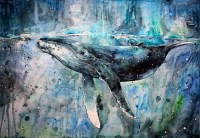 whale, Artwork, Watercolor, Paint Splatter, Animals