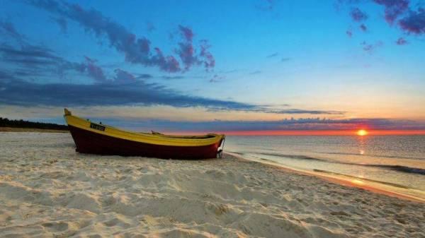 coast sunset nature boat clouds