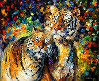 tiger, Painting, Leonid Afremov, Animals, Colorful ...