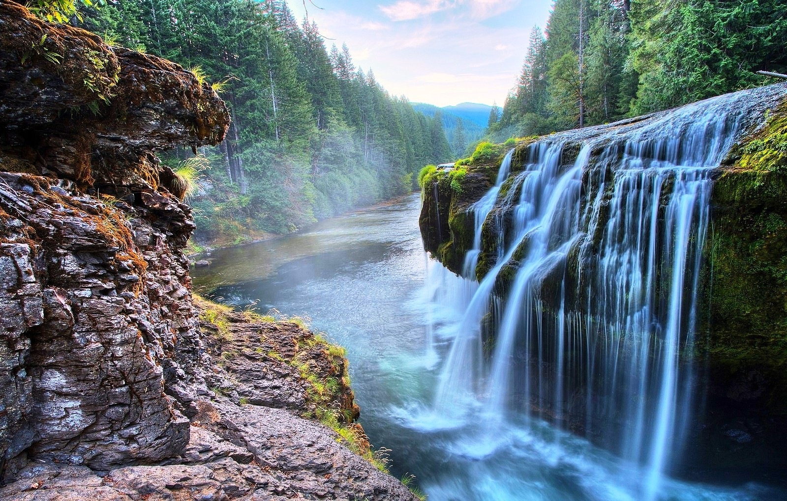 canyon Waterfall River Forest Nature Landscape Dusk