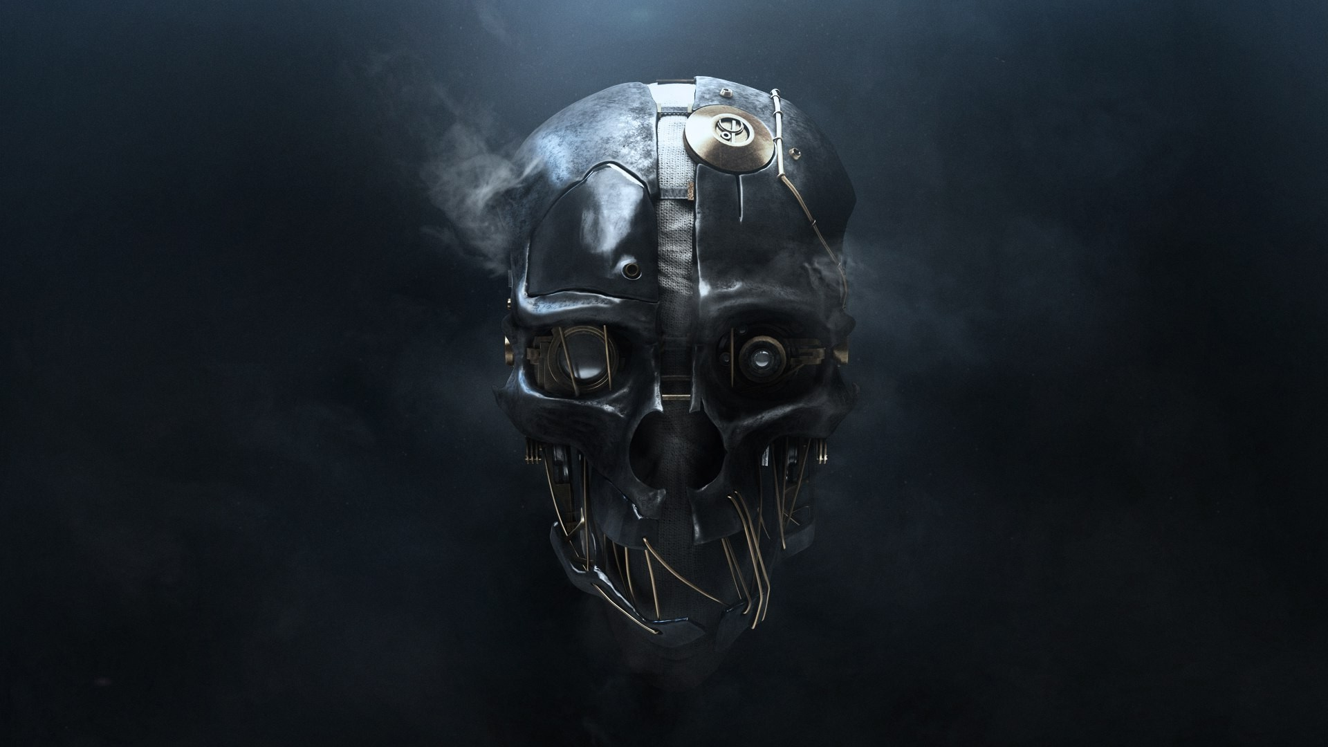 skull, simple background, 3d, metal, wires, smoke, technology