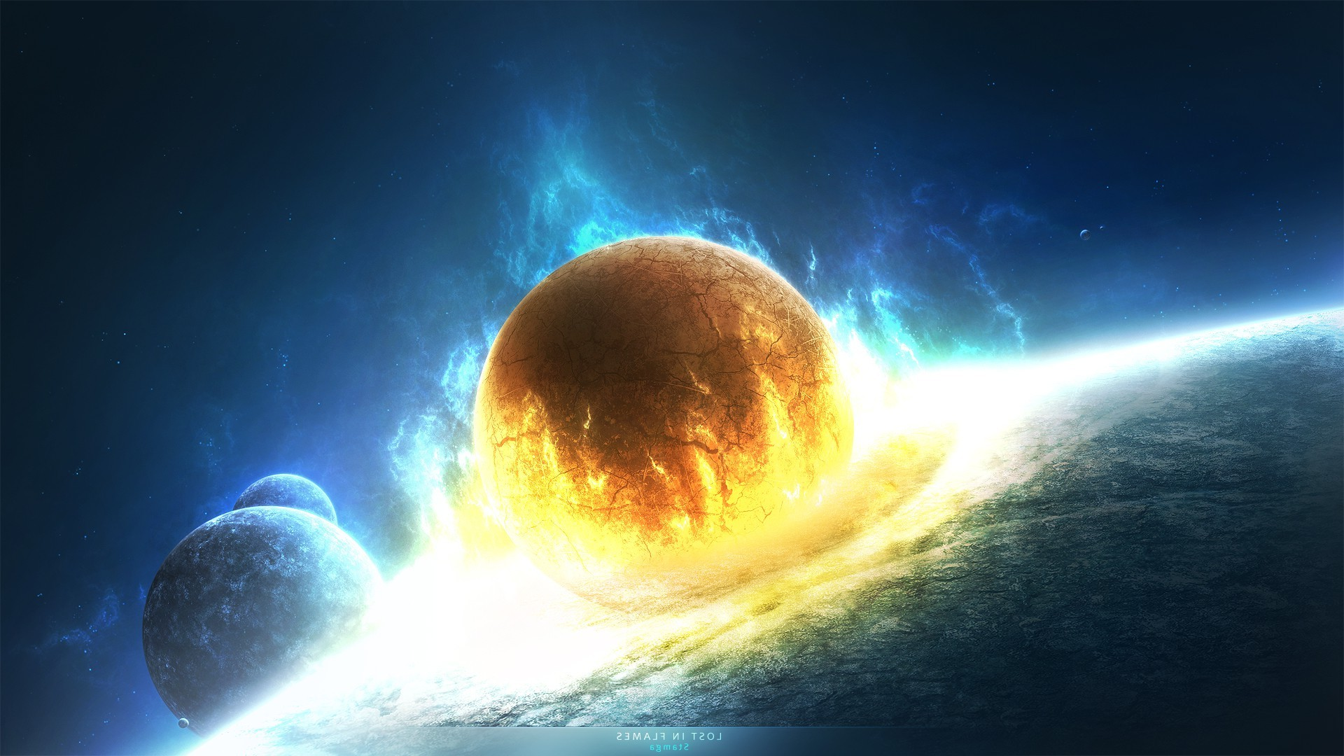 Explosion Wallpaper Abstract 3d Cosmos Collision Planet Wallpapers Hd Desktop And