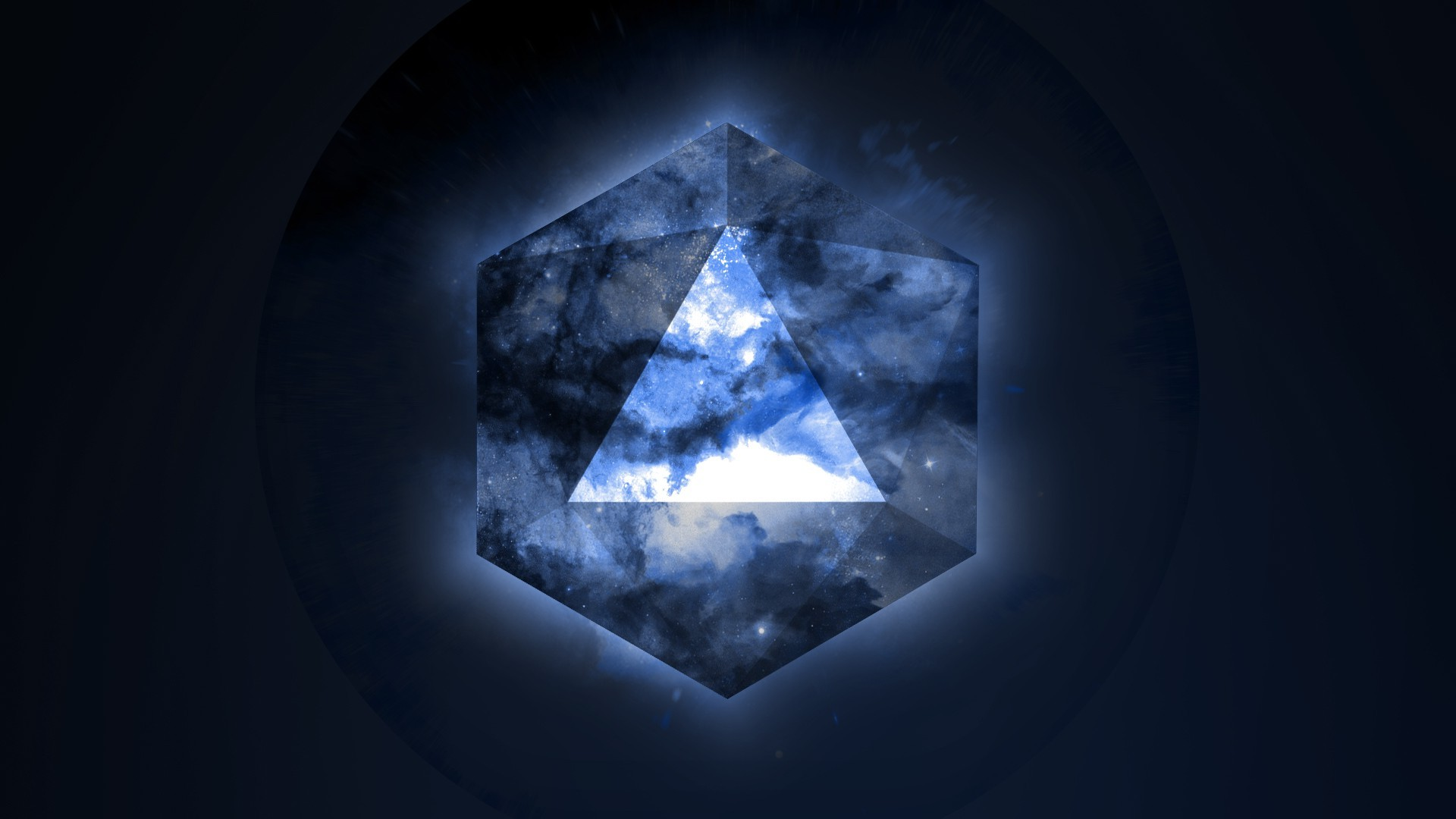 3d Hologram Wallpaper For Pc Space Geometry Stars Triangle Illuminati Blue
