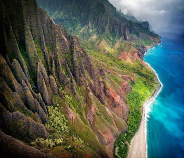 mountain Kauai Beach Cliff Sea Sand Shrubs Aerial