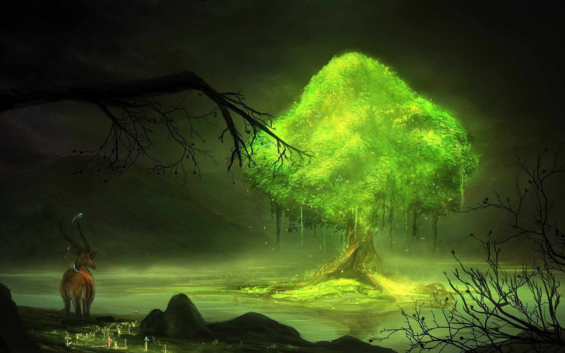 digital Art Fantasy Art Nature Trees Glowing Animals
