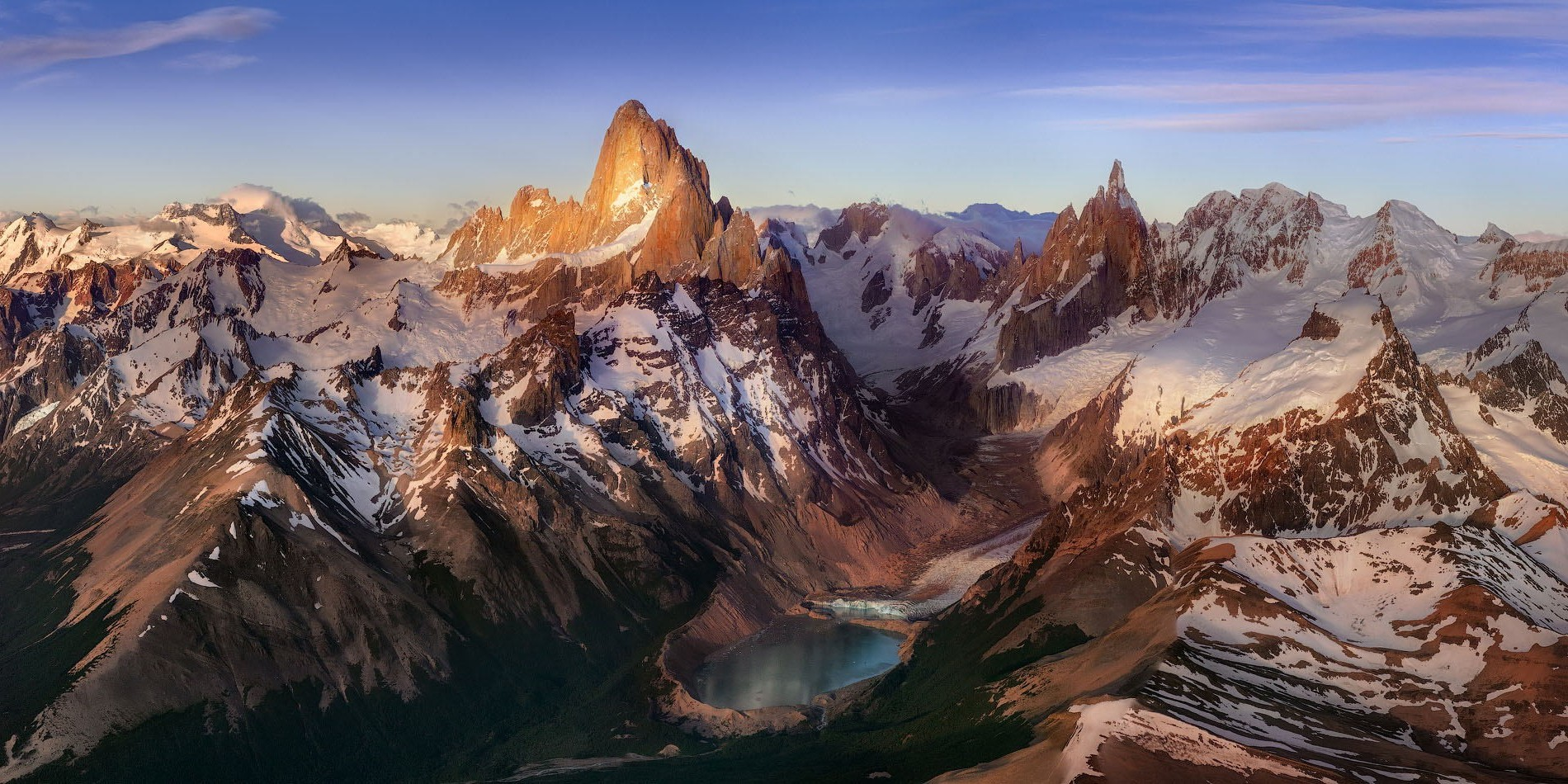 Panoramic Wallpaper Fall Mountain Lake Sunrise Snowy Peak Andes Patagonia
