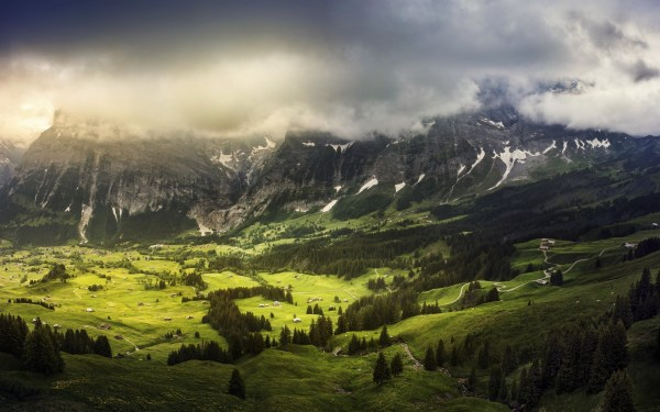 Landscape Nature Mountain Switzerland Trees Clouds Valley Wallpapers Hd Desktop And