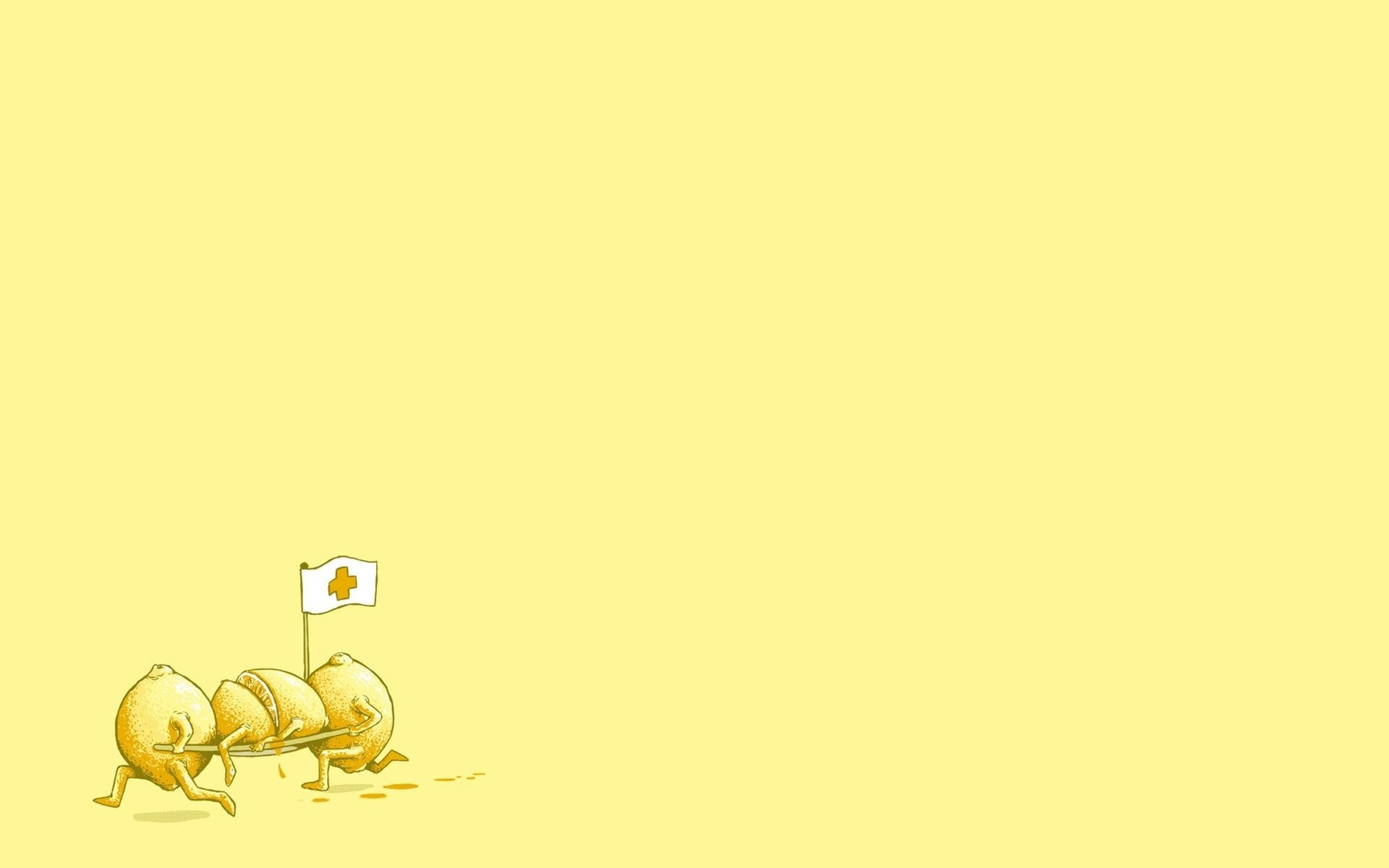 Cute Fruit Wallpapers Digital Art Minimalism Humor Yellow Background Fruit