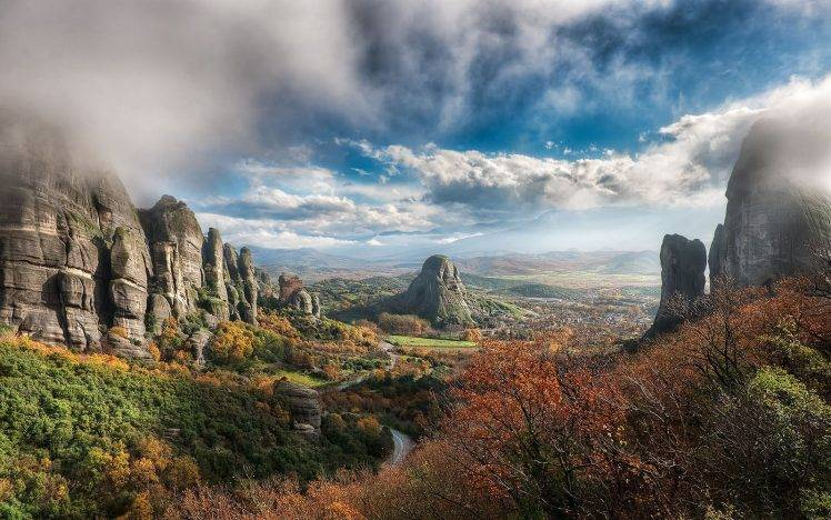 4k Fall Mountain Wallpaper Nature Landscape Greece Valley Fall Clouds Rock