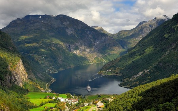 Landscape Nature Mountain Norway Cruise Ship Forest Villages Hotels Summer Clouds