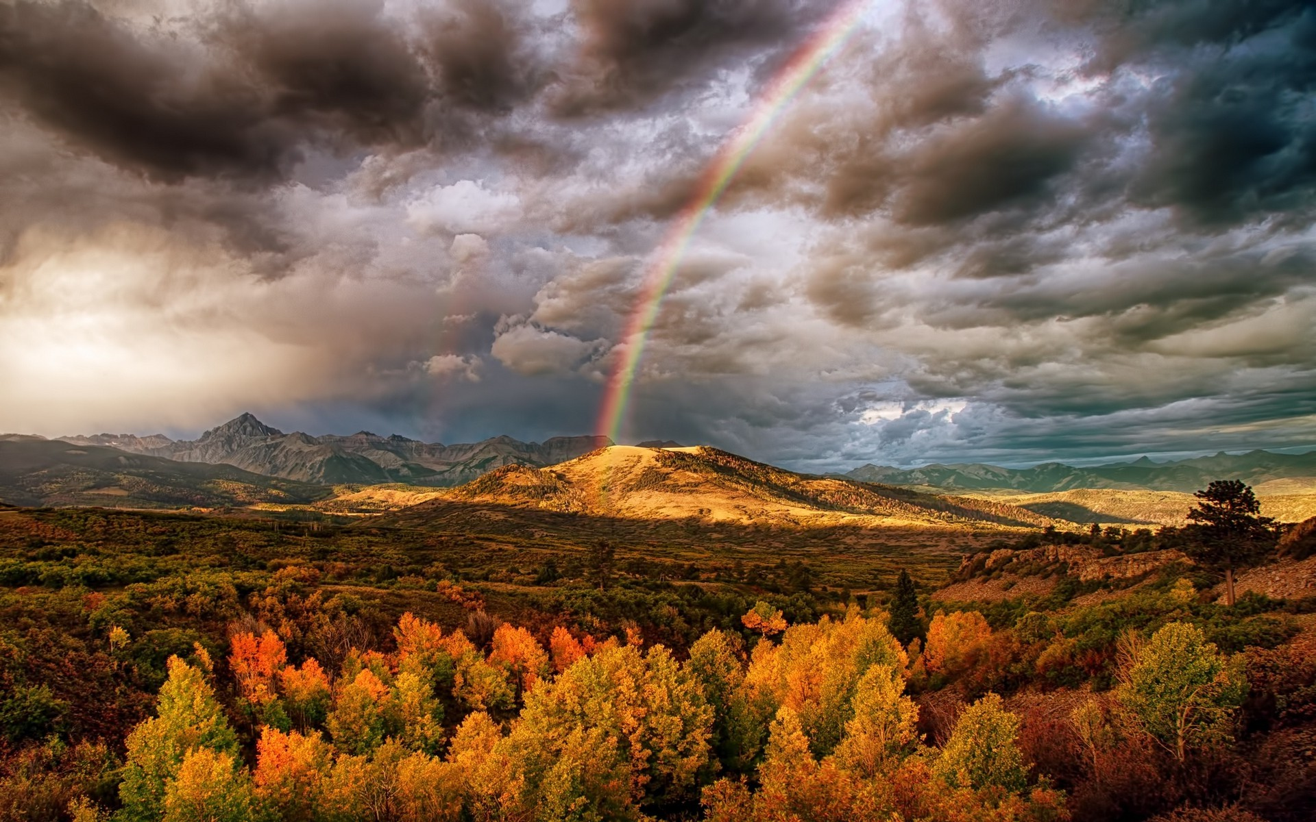 Scenic Fall Wallpaper Nature Landscape Rainbows Mountain Fall Clouds Trees