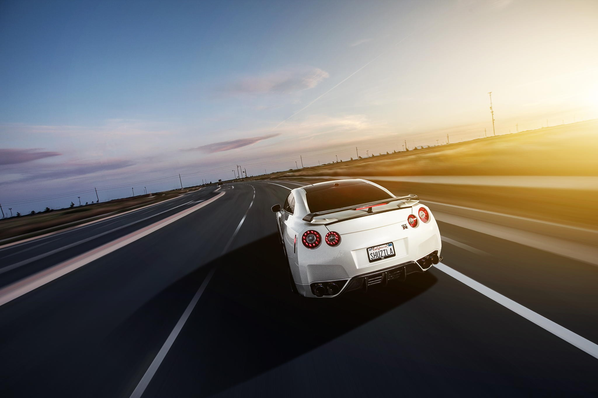 Car 5760x1080 Wallpaper Nissan Nissan Skyline Gt R R35 Car Highway Sunlight