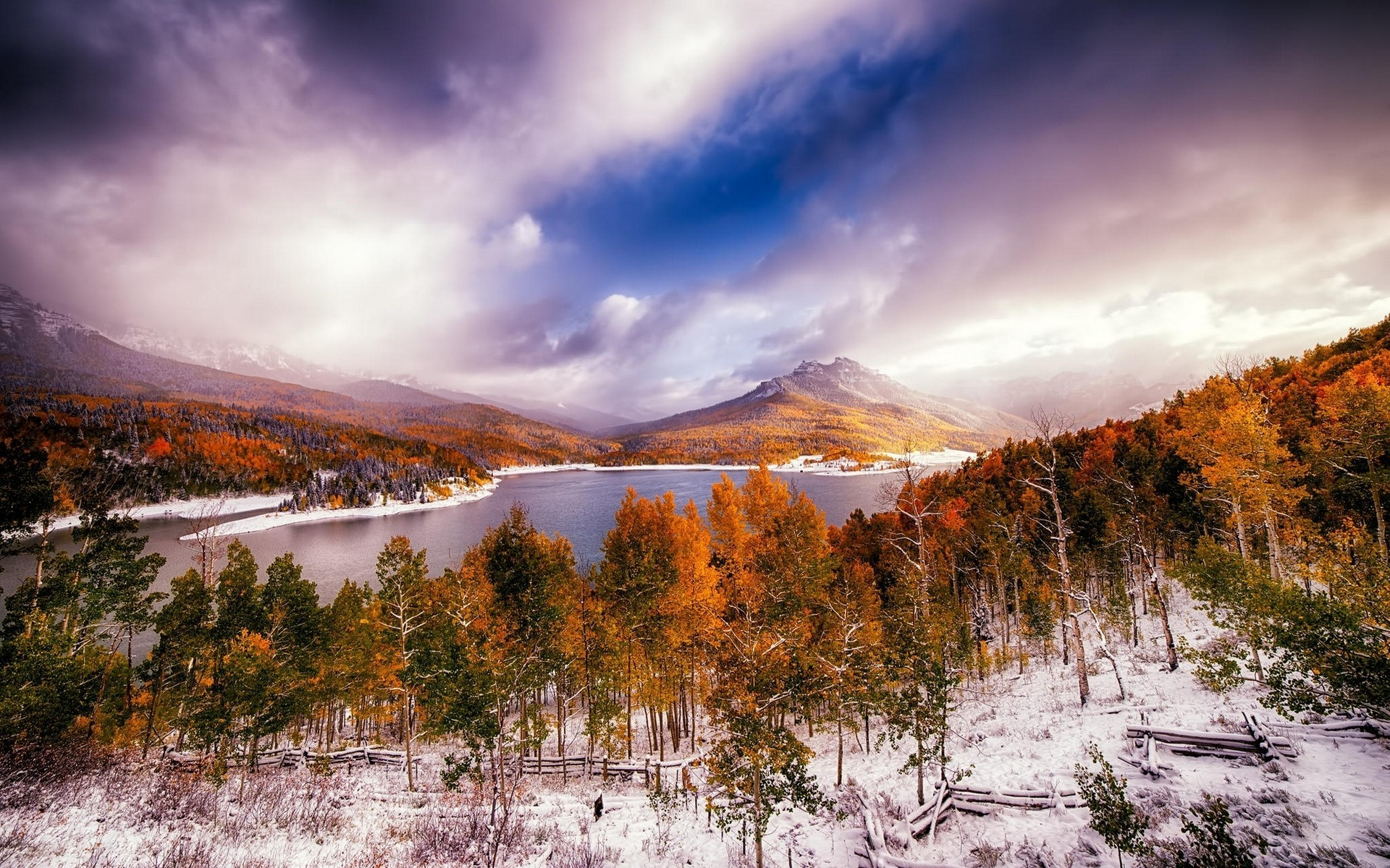 Fall Forest Wallpaper For Desktop Forest Lake Fall Nature Snow Trees Clouds Landscape
