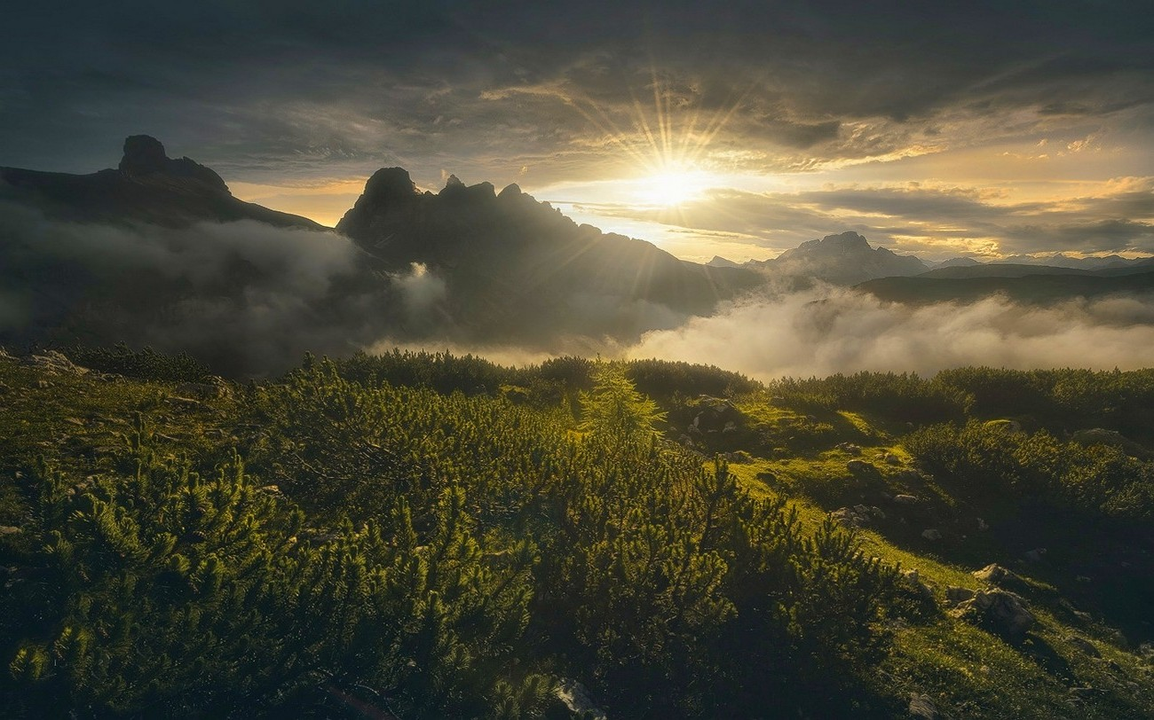 Inspirational Wallpapers Hd Free Download Nature Landscape Mountain Sunset Shrubs Spring Italy