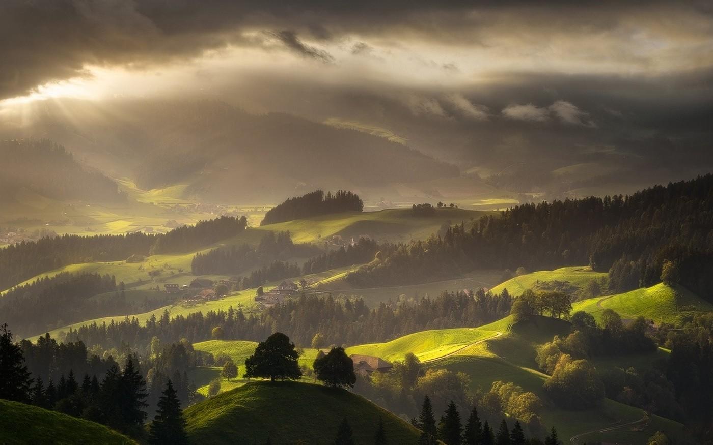 Fb Wallpaper Hd Switzerland Landscape Forest Mist Nature Mountain