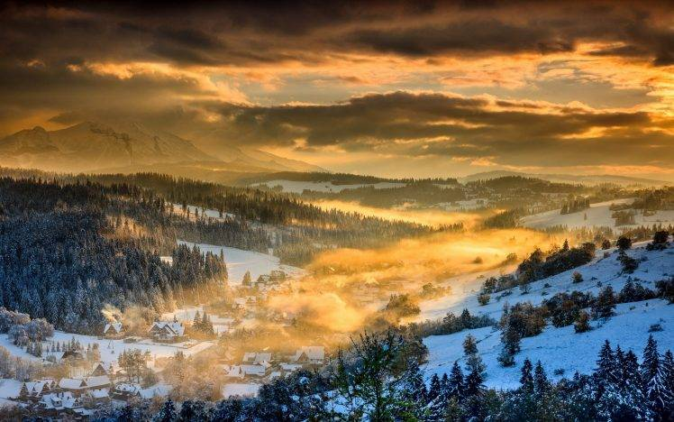 Fall Leaves Falling Wallpaper Nature Landscape Winter Sunset Forest Mountain