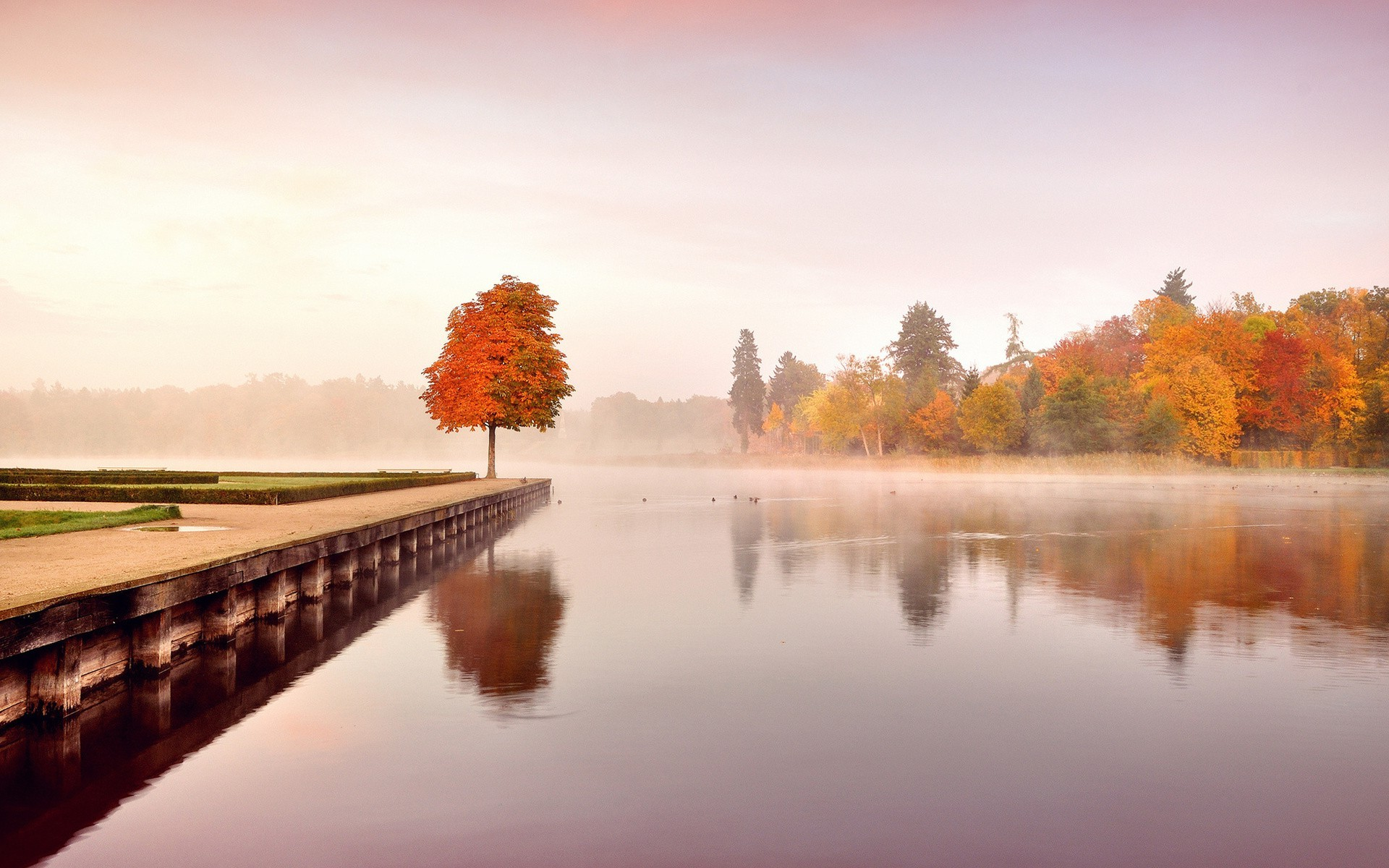 Fall Hd Wallpaper 1280x1024 Nature Landscape Fall Trees Water Calm Reflection