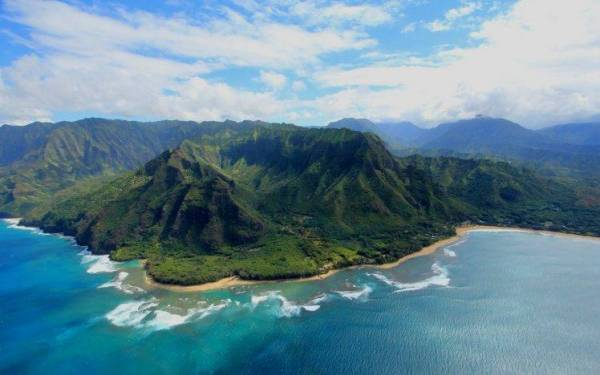 nature Landscape Island Aerial View Mountain Kauai