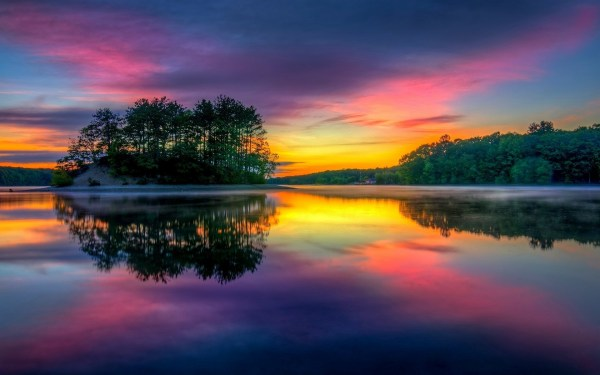 sunrise colorful lake island