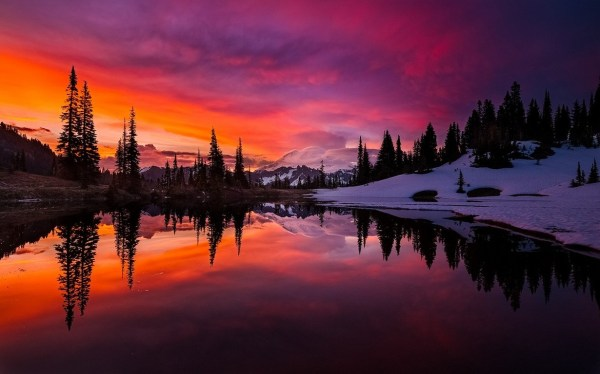 lake sunset mountain forest