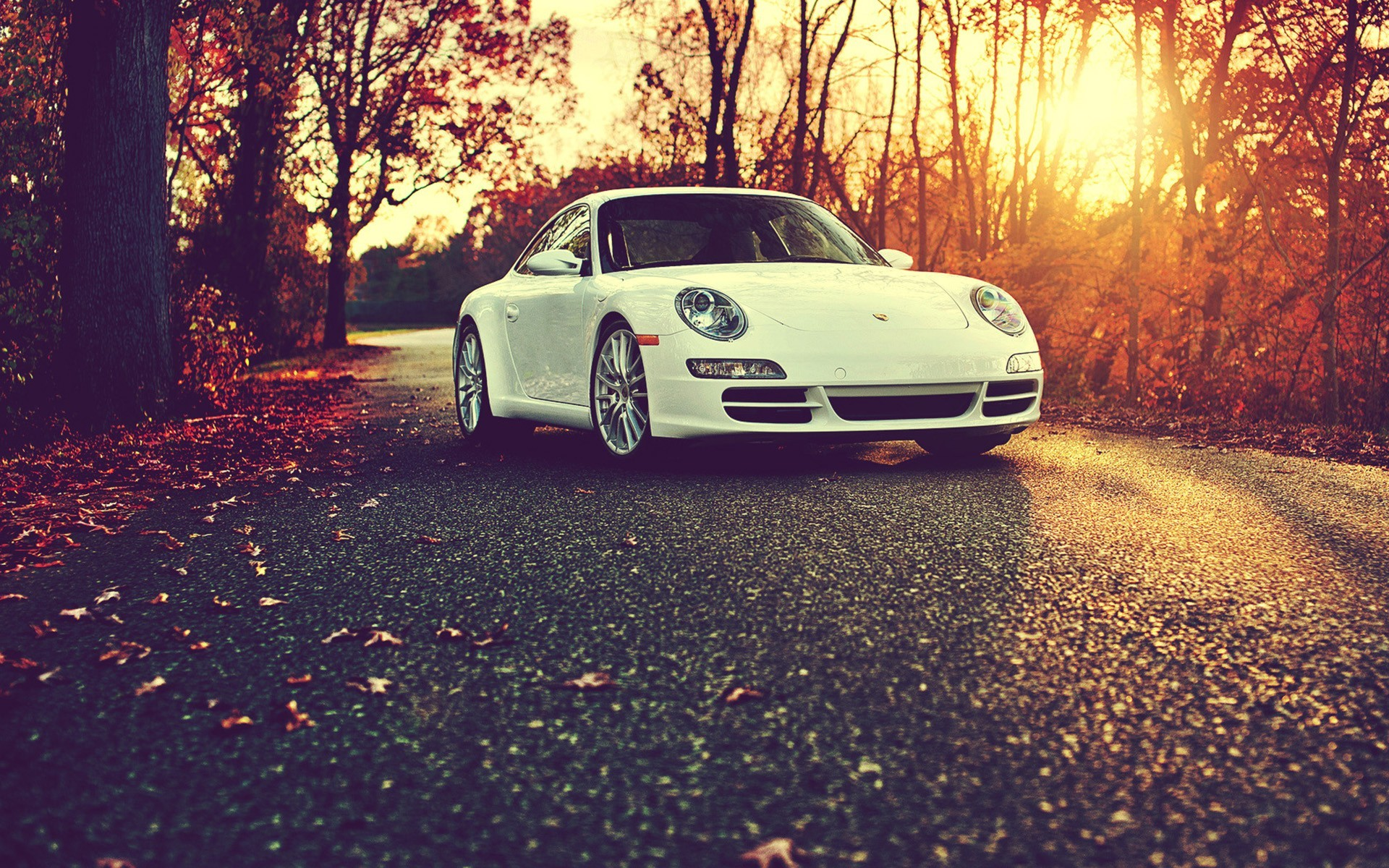 1280x800 Fall Hd Wallpaper Porsche Cayman White Fall Sunset Wallpapers Hd