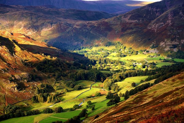 Nature Landscape Mountain Valley Trees Field Village Sunlight England Wallpapers Hd