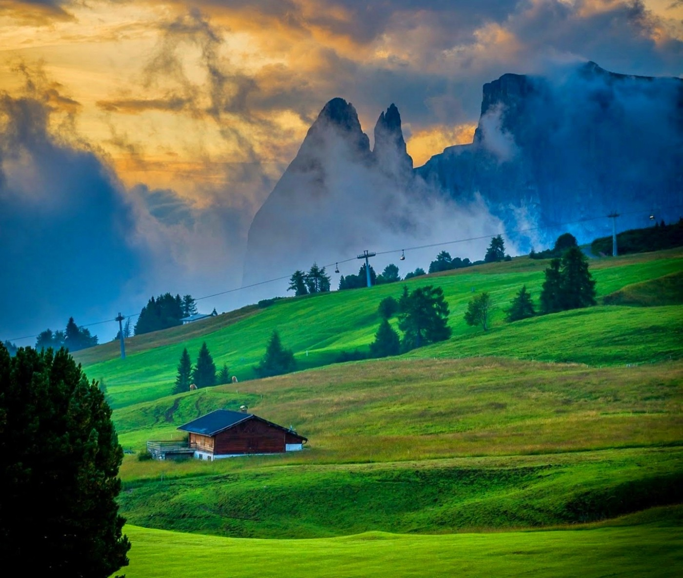 5760x1080 Anime Wallpaper Nature Landscape Dolomites Mountains Sunset Italy
