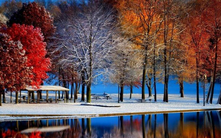 Free Desktop Wallpaper Falling Snow Nature Landscape Fall Snow Trees Colorful Water