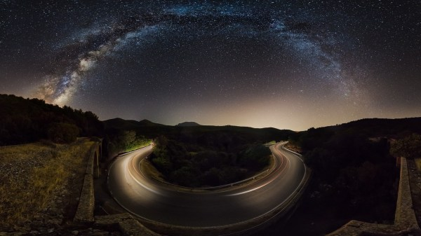Nature Landscape Starry Night Road Milky Hill Galaxy Dry Grass Trees Walls Lights