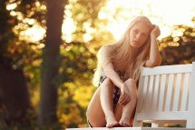 Blonde Long Hair Barefoot Sunlight Bench Women