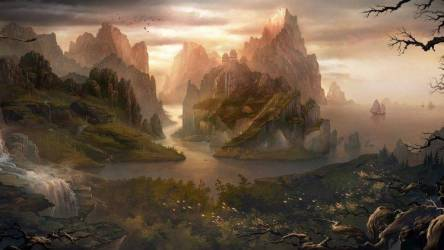 fantasy landscape nature rock island mountain chinese water waterfall digital trees hill birds architecture desktop hd wallpapers background