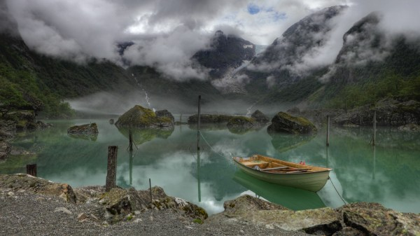 Nature Landscape Water Rock Clouds Norway Lake Mist Boat Moss Reflection Trees