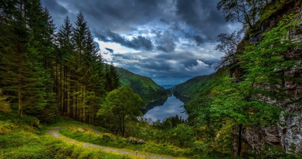 Nature Landscape Lake Forest Clouds Path Grass Trees Mountain Valley Norway Wallpapers
