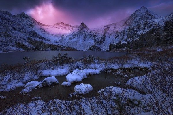 Landscape Nature Mountain Lake Sunset Winter Snow Frost Sunlight Trees Shrubs Cold