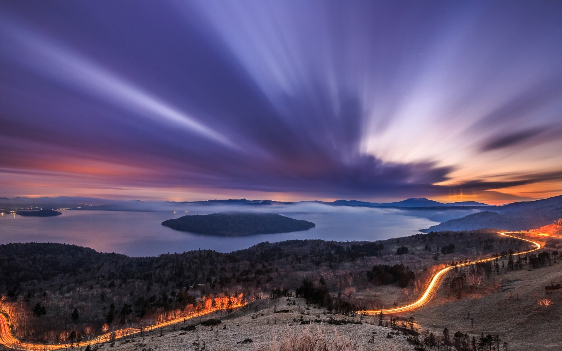 Majestic Fall Wallpaper Nature Landscape Long Exposure Sunset Clouds Hill