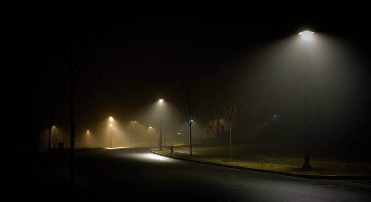 landscape Nature Street Night Street Light Mist