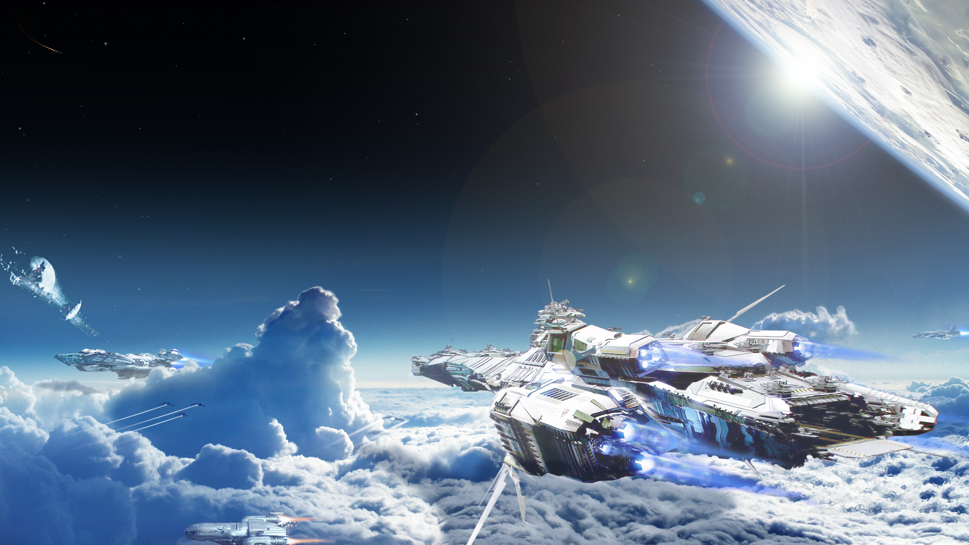 Epic 3d Movie Wallpapers Star Citizen Space Bengal Class Carrier Clouds Lens