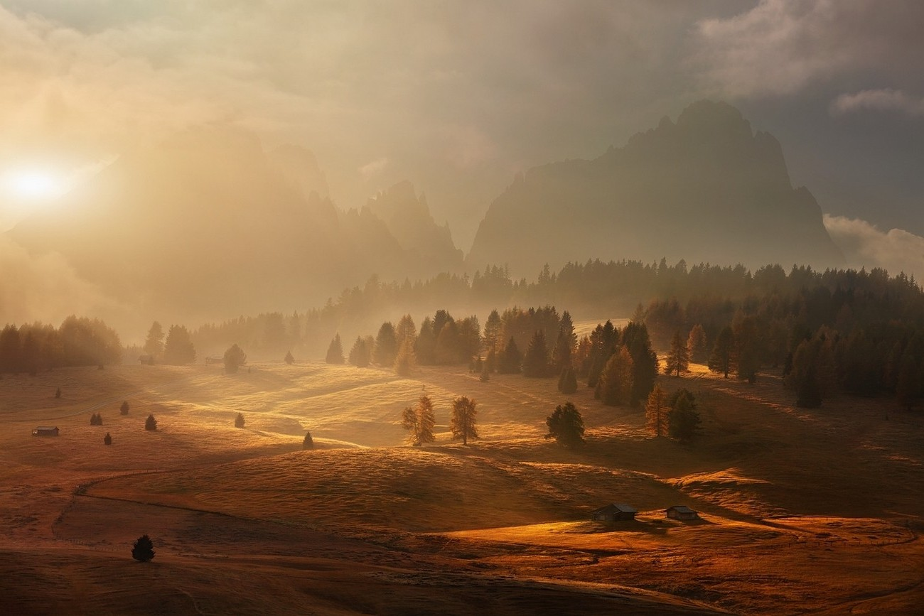 Full Screen Fall Wallpaper Landscape Nature Mountain Sunrise Mist Forest Fall