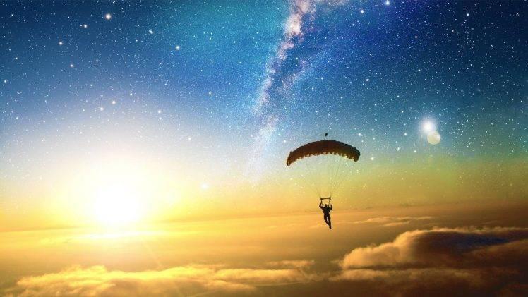 Pubg Parachute Wallpaper Digital Art Skydiving Sun Stars Clouds Liquicity