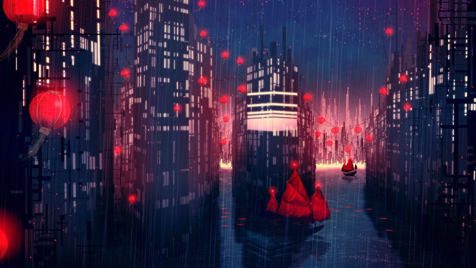 Wallpaper Girl On Boat 1440p Rain City Artwork Fantasy Art Concept Art Boat Red