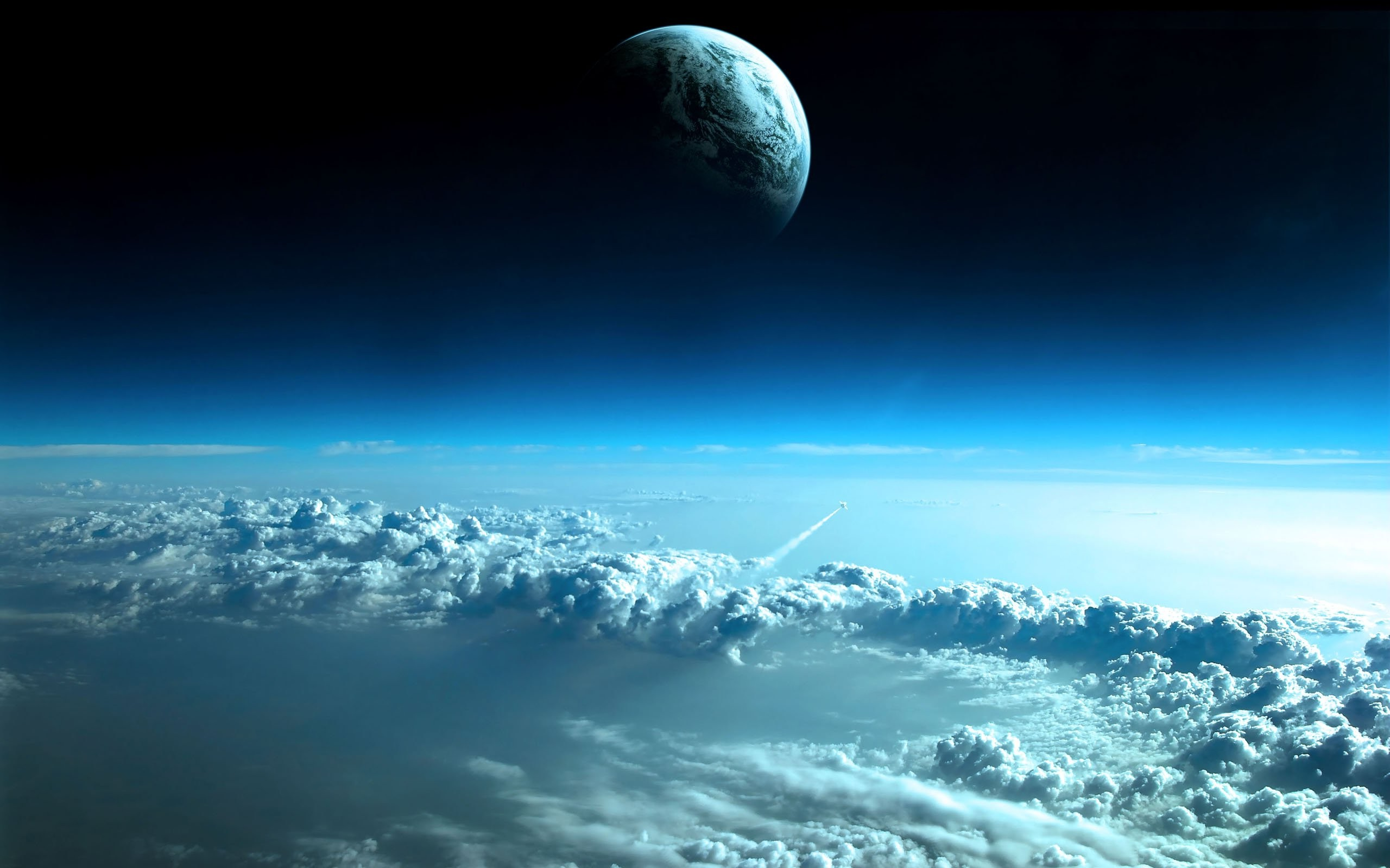 space earth clouds moon