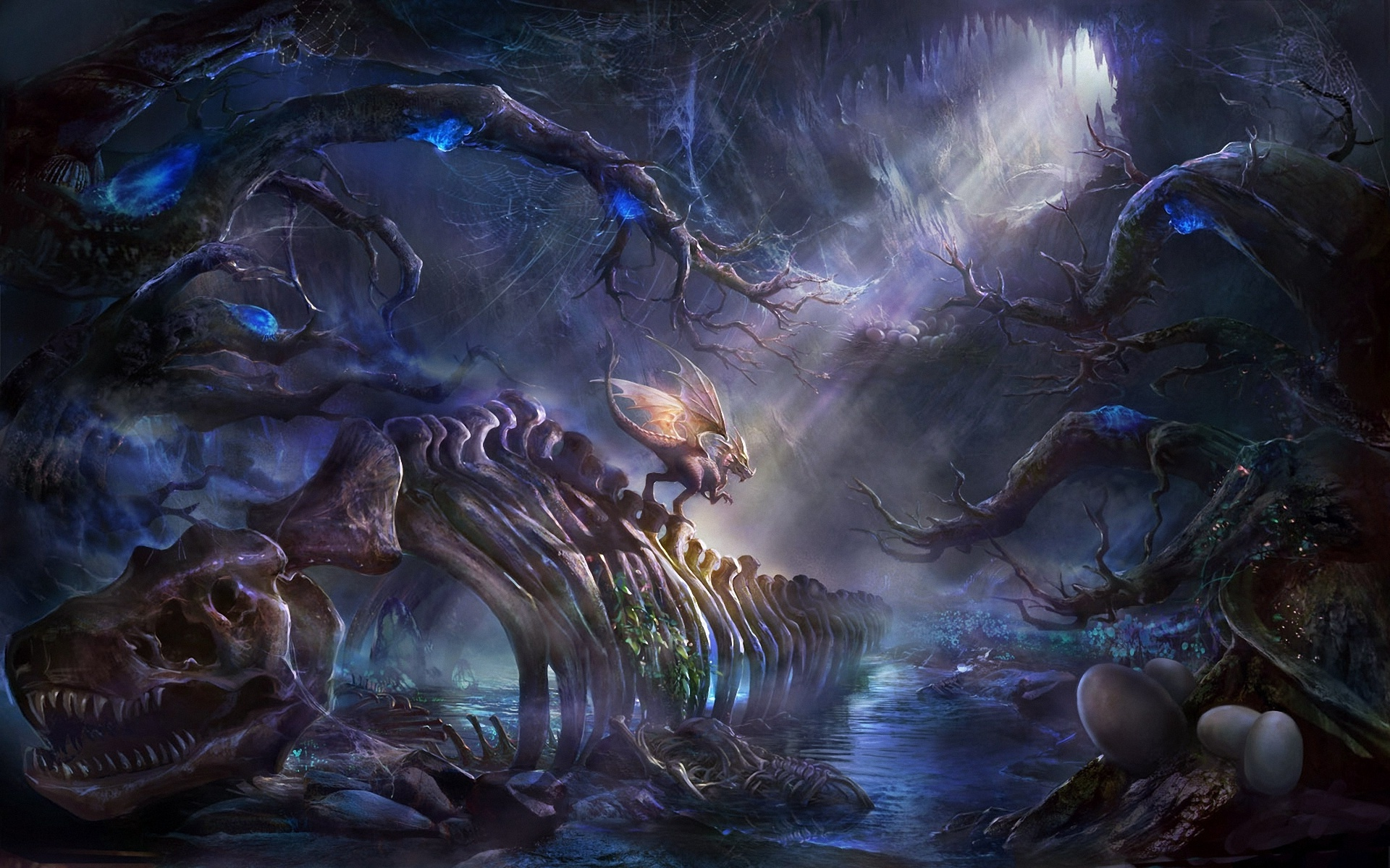 Mystical Fall Desktop Wallpaper Fantasy Art Dragon Bones Wallpapers Hd Desktop And
