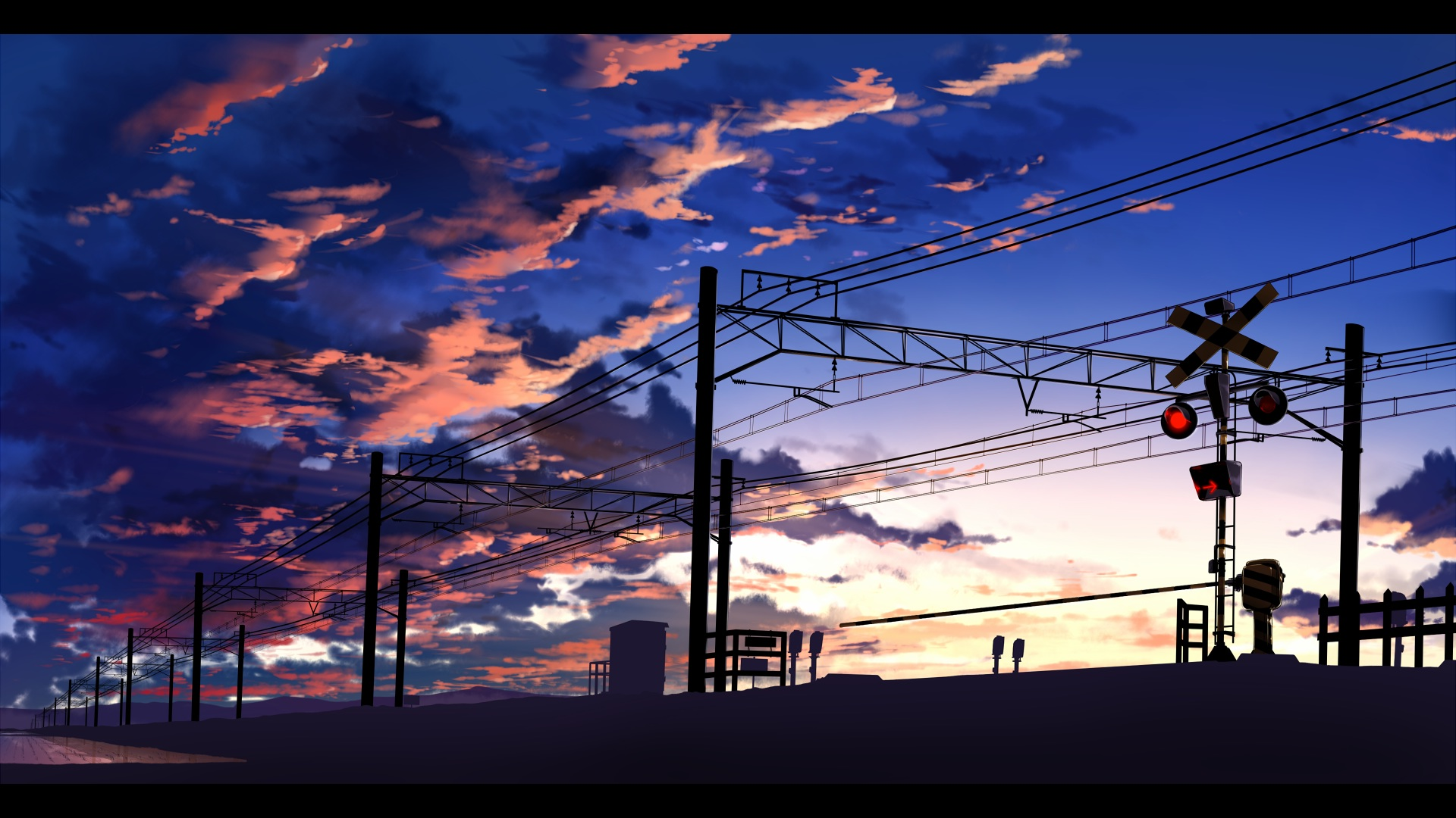 Indian Girl Wallpaper Full Hd Download Anime Train Station Power Lines Clouds Traffic Lights