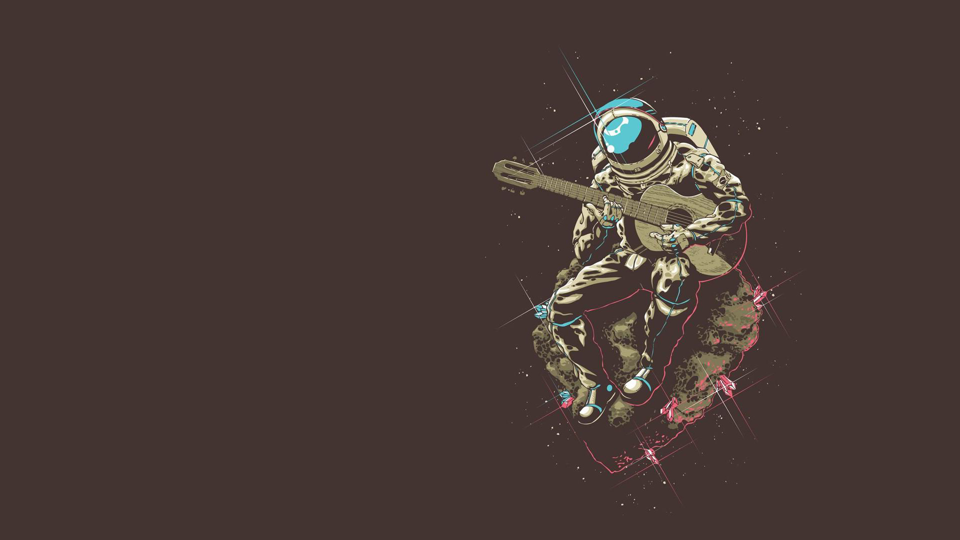 Cartoon Love Wallpaper Full Hd Minimalism Astronaut Space Guitar Asteroid Wallpapers