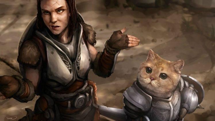 Cute Arabic Girl Wallpaper The Elder Scrolls V Skyrim Cat Video Games Lydia