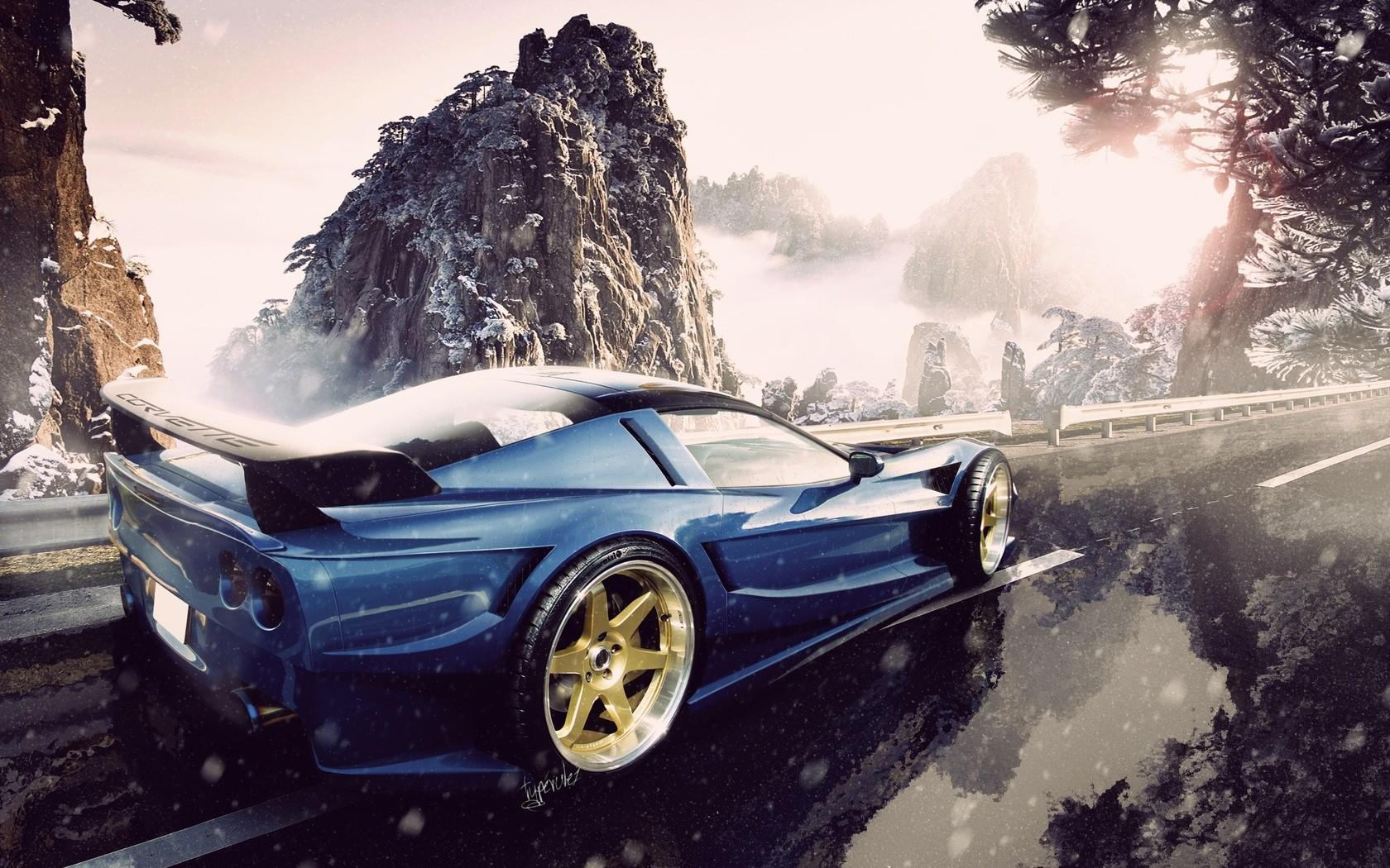 Car Rims Snow Mountain Road Blue Cars Chevrolet