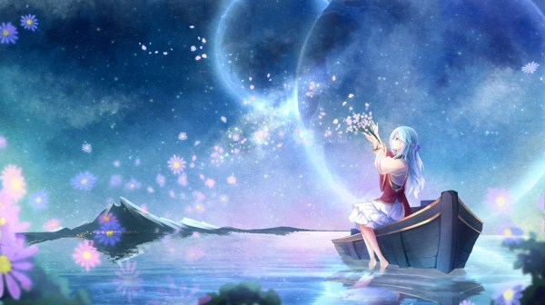 anime Girls Planet Water Flowers Original Characters